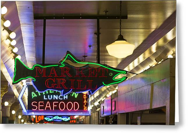 Market Grill Greeting Card by Scott Campbell