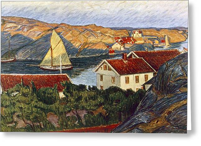 Market In A Coastal Place Greeting Card by Karl Fredrick Nordstrom