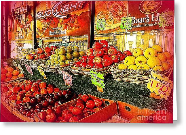 Apples And Plums In Red - Outdoor Markets Of New York City Greeting Card by Miriam Danar