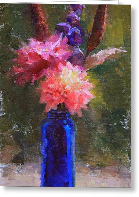 Market Melody - Dahlias And Cattails Greeting Card