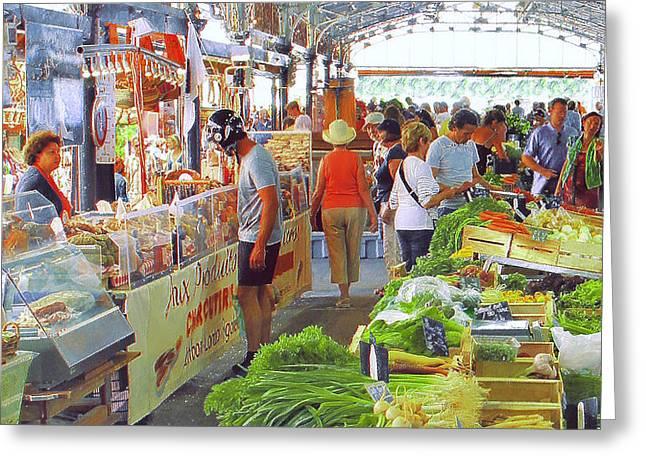 Market Scene In Antibes France Greeting Card by Ben and Raisa Gertsberg