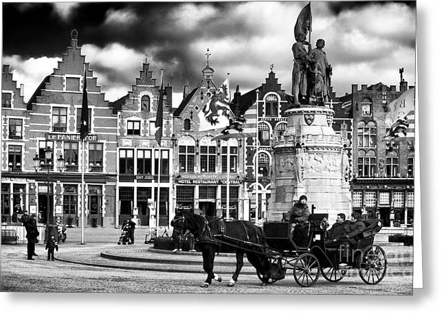 Market Square In Bruges Greeting Card by John Rizzuto