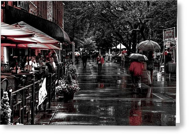 Market Square Shoppers - Knoxville Tennessee Greeting Card by David Patterson