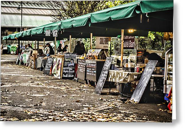 Market Stalls Greeting Card by Heather Applegate