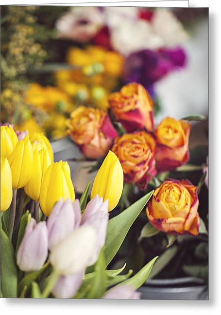 Market Tulips - Paris, France Greeting Card