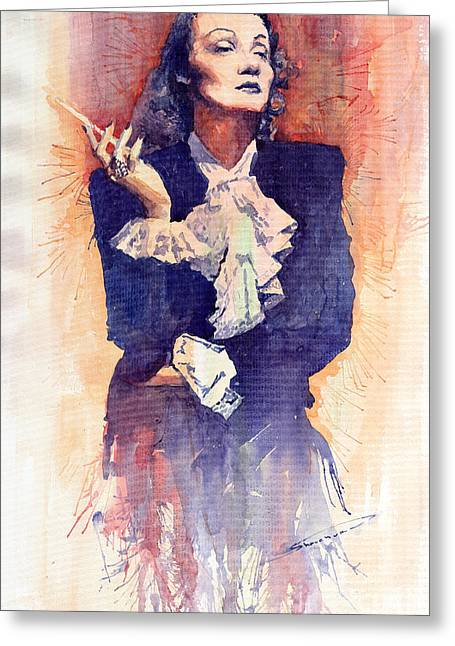 Marlen Dietrich  Greeting Card by Yuriy  Shevchuk