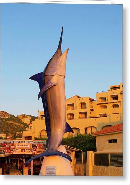 Marlin Statue, Marina, Cabo San Lucas Greeting Card by Douglas Peebles