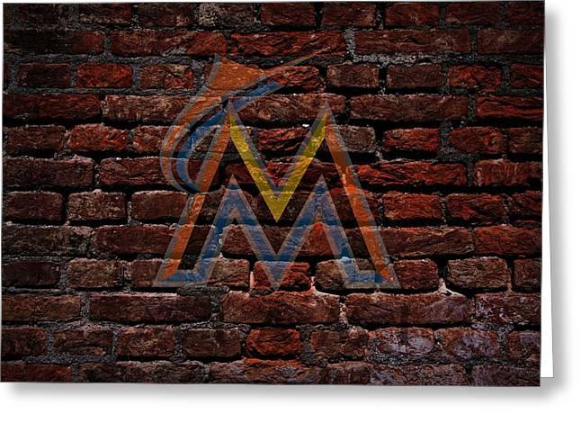 Marlins Baseball Graffiti On Brick  Greeting Card