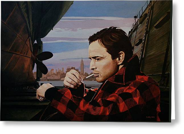 Marlon Brando - On The Waterfront Greeting Card by Jo King