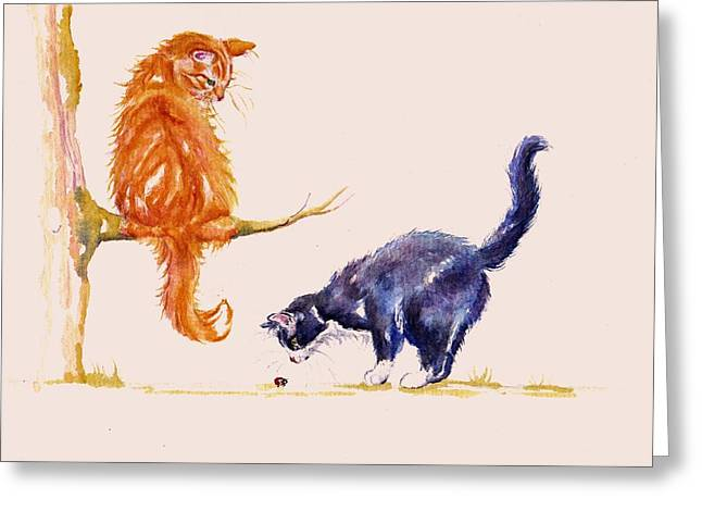 Marmalade And Tuxedo Greeting Card by Debra Hall