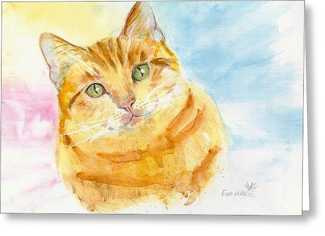 Marmalade Cat Greeting Card by Eva Marie Tanner-Klaas