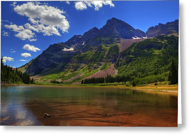 Greeting Card featuring the photograph Maroon Bells by Alan Vance Ley