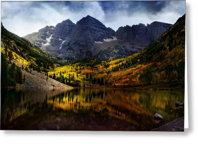 Greeting Card featuring the photograph Maroon Bells - An American Icon by Ellen Heaverlo