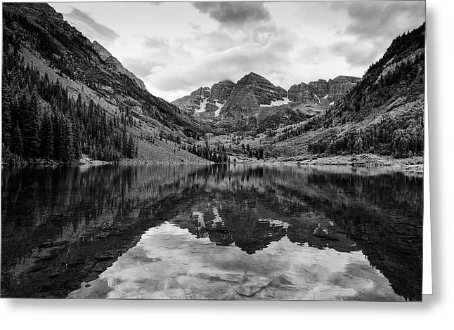 Maroon Bells - Aspen - Colorado - Black And White Greeting Card