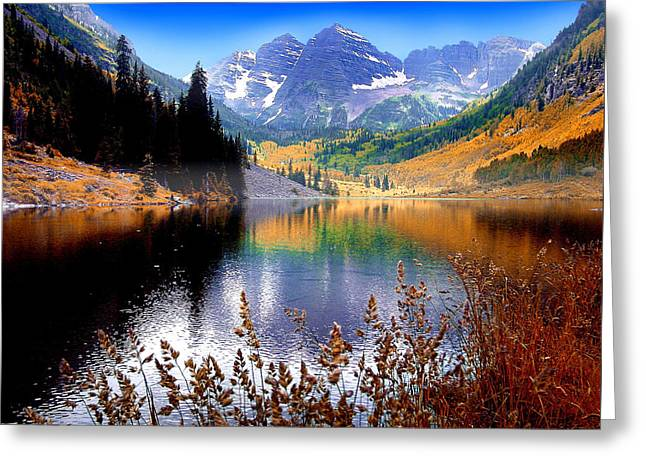 Maroon Bells At Maroon Lake Greeting Card by John Hoffman