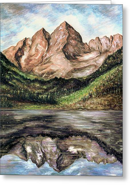 Maroon Bells Colorado - Landscape Painting Greeting Card
