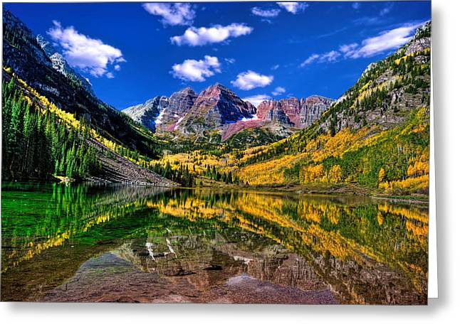 Maroon Bells Fall Colors Greeting Card by Ken Smith