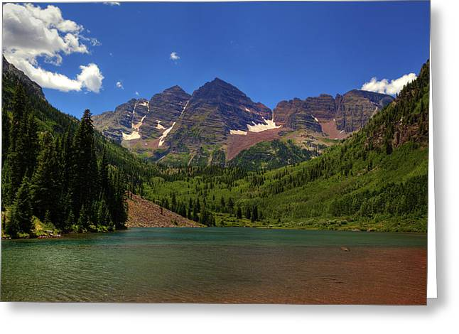 Greeting Card featuring the photograph Maroon Bells From Maroon Lake by Alan Vance Ley