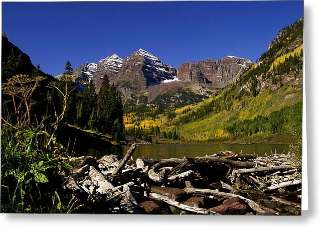 Greeting Card featuring the photograph Maroon Bells by Jeremy Rhoades