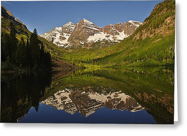 Maroon Bells Reflection Summer Greeting Card