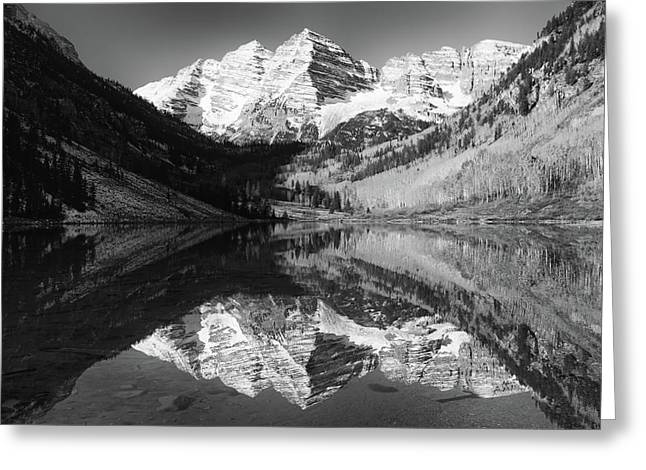 Maroon Bells Reflections - Black And White Greeting Card