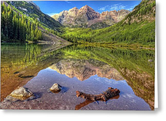 Maroon Bells Reflections Greeting Card by Ken Smith