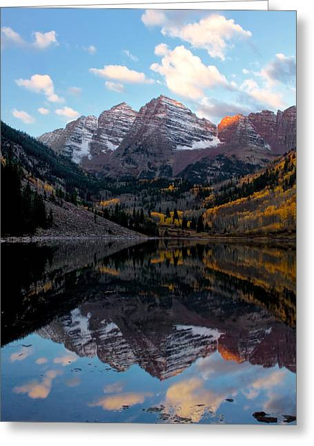 Greeting Card featuring the photograph Maroon Bells by Ronda Kimbrow