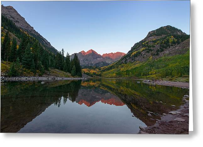 Maroon Bells Sunrise Greeting Card by David Yack