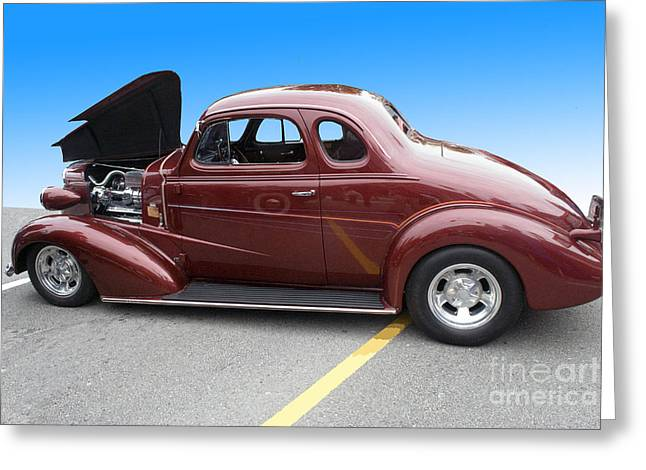 Maroon Coupe Greeting Card