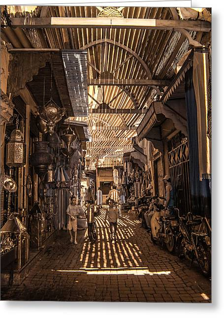 Marrakech Souk With Children Greeting Card