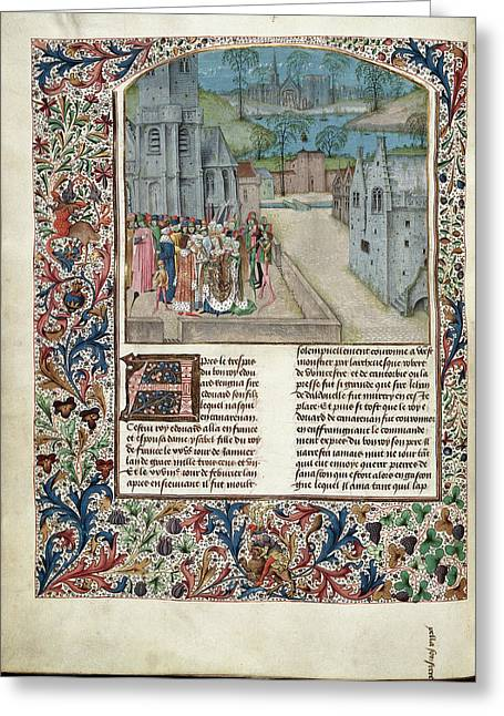 Marriage Of Edward II To Isabella Of Fran Greeting Card by British Library