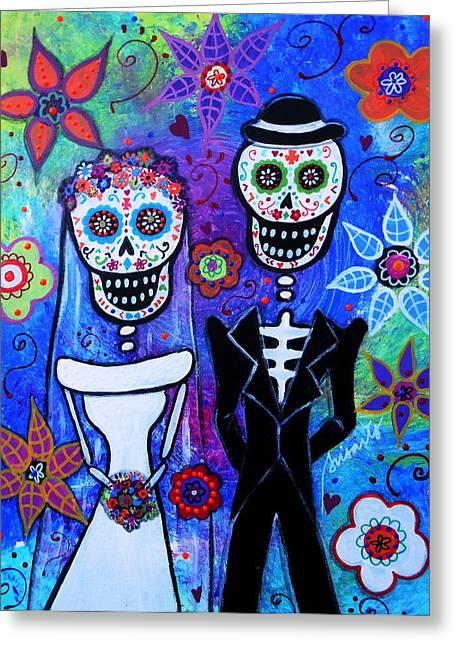 Married Couple Dia De Los Muertos Greeting Card