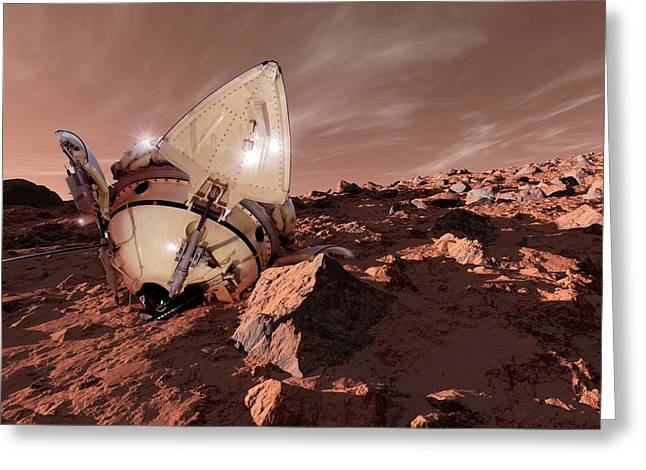 Mars 3 Probe Greeting Card by Detlev Van Ravenswaay