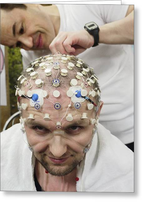Mars-500 Commander's Brain Tests Greeting Card by Science Photo Library