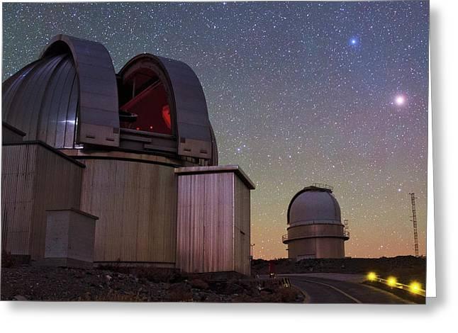 Mars And La Silla Observatory Greeting Card by Babak Tafreshi