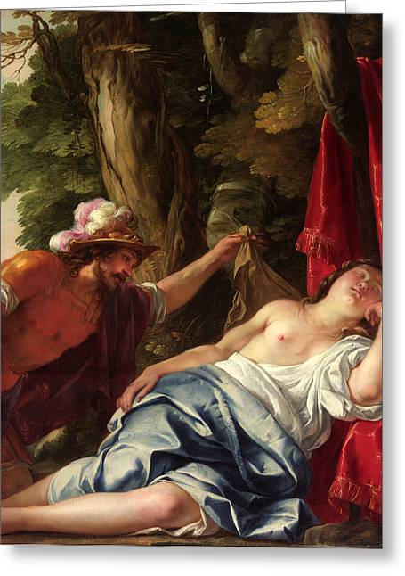 Mars And The Vestal Virgin Greeting Card by Jacques Blanchard