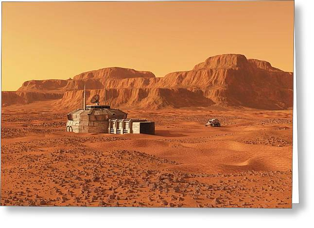 Mars Base Greeting Card by Walter Myers