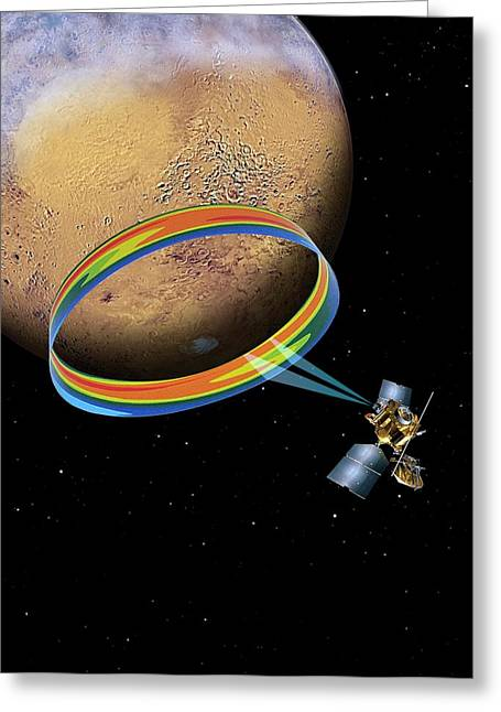 Mars Climate Sounder And Mars Greeting Card by Nasa/jpl-caltech