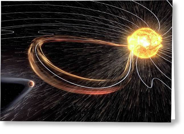 Mars Losing Atmosphere In Solar Wind Greeting Card by Nasa/gsfc