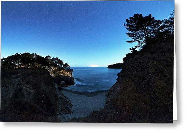 Mars Near Opposition Over A Coastline Greeting Card by Laurent Laveder
