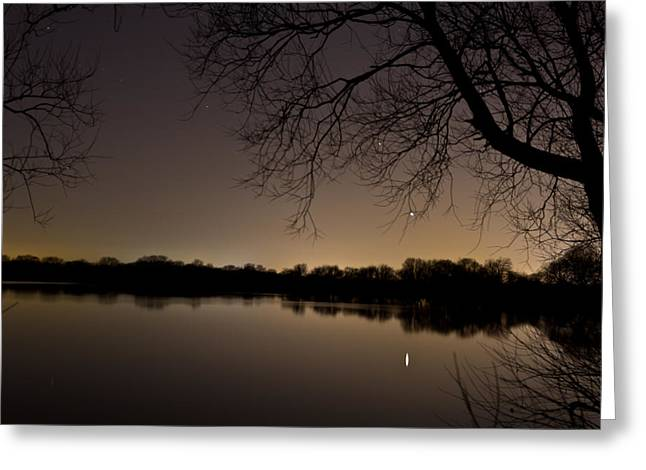Mars Over The Lake Greeting Card by Chris Whittle