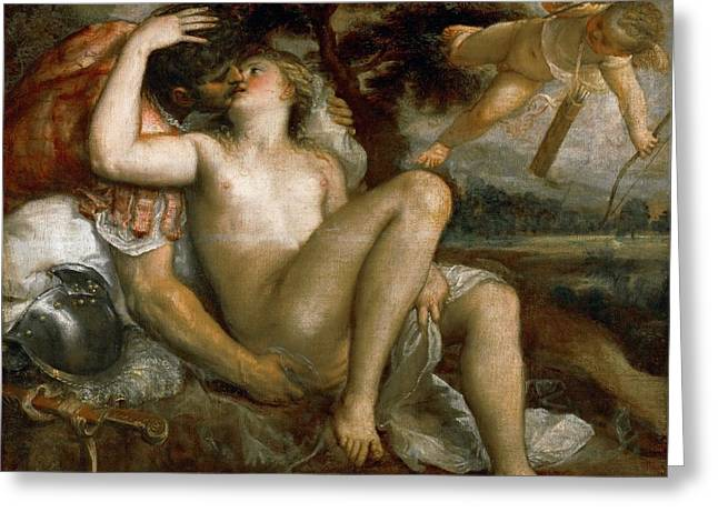 Mars Venus And Amor Greeting Card by Titian