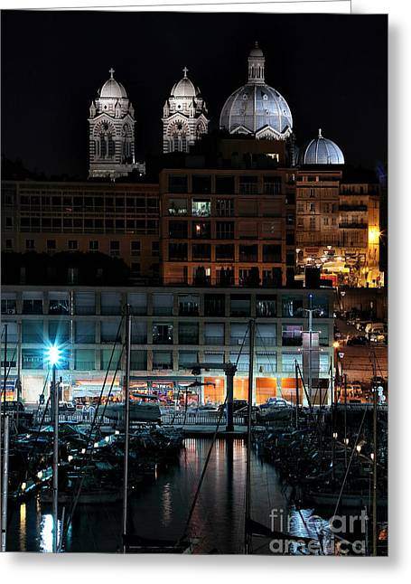 Marseille Cathedral At Night Greeting Card by John Rizzuto