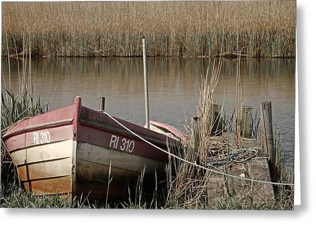 Marsh Boat Greeting Card by Odd Jeppesen
