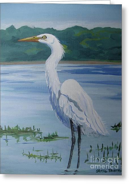 Marsh Land Egret Greeting Card