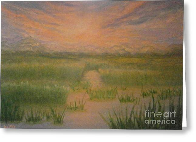 Greeting Card featuring the painting Marsh Sunset by Holly Martinson