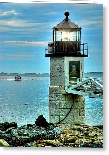 Marshall Point Light And Boat Greeting Card by Carolyn Fletcher