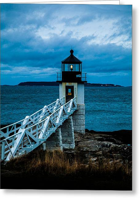 Marshall Point Light At Dusk 1 Greeting Card