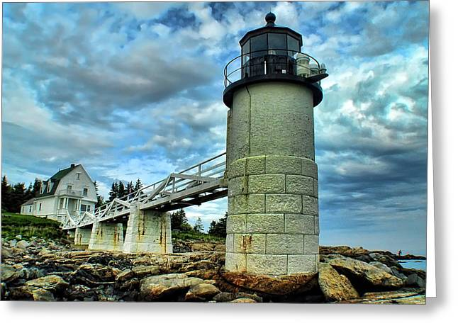 Marshall Point Light From The Rocks Greeting Card by Carolyn Fletcher