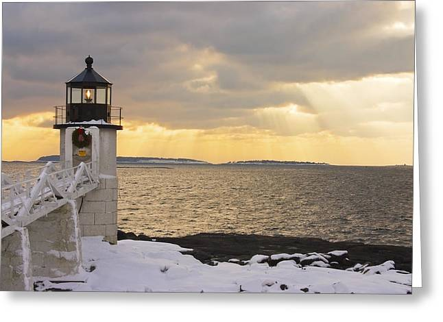 Marshall Point Lighthouse In Winter Maine  Greeting Card